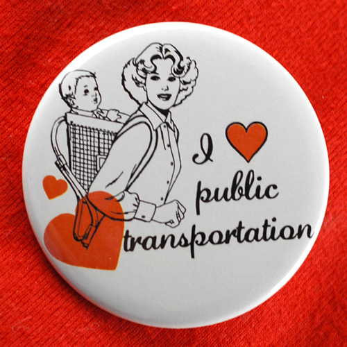 I Heart/Love Public Transportation Button